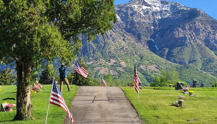 Memorial Day Flag Display at Ben Lomond Cemetery